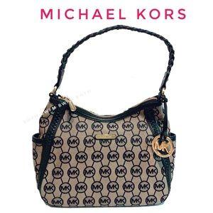 michael kors canvas shoulder logo zip bag purse